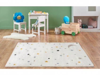 Kinderteppich MOONY - Polypropylen - 100 x 150 cm - Beige, Blau & Gelb