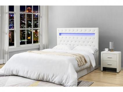 Bett-Kopfteil mit LED-Beleuchtung SUPERNOVA - 140 cm - Kunstleder - Weiß