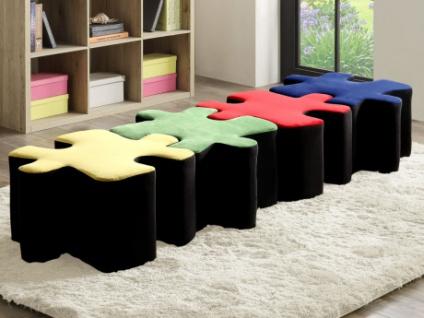 Sitzhocker 4er-Set Samt PUZZLE - Grün, Rot, Blau & Gelb