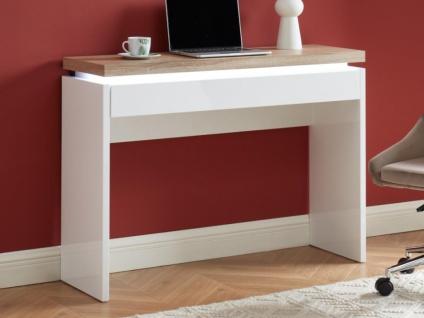 Büro-Konsolentisch mit LED-Beleuchtung HALO - 1 Schublade - Weiß & Eichefarben - Vorschau 2