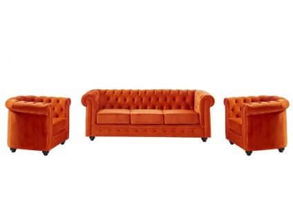 Couchgarnitur 3+1+1 Samt Chesterfield ANNA - Terrakotta