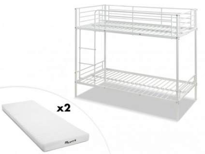 Set Etagenbett DUOTIS II + Lattenrost + 2 Matratzen - 2x90x190cm - Weiß