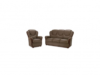 Couchgarnitur Leder 3+1 ADELAIDE - Büffelleder - Taupe