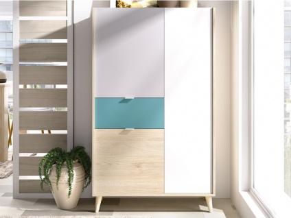 Vitrinenschrank BICA - 3 Türen & 1 Schublade - Mehrfarbig