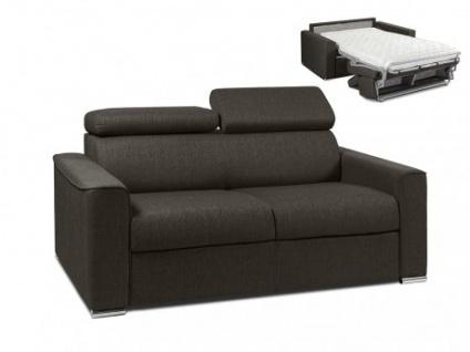 Schlafsofa 2-Sitzer Stoff VIZIR - Braun - Liegefläche: 120 cm - Matratzenhöhe: 14cm