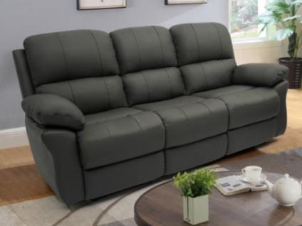 Relaxsofa Leder 3-Sitzer MILAGRO - Anthrazit
