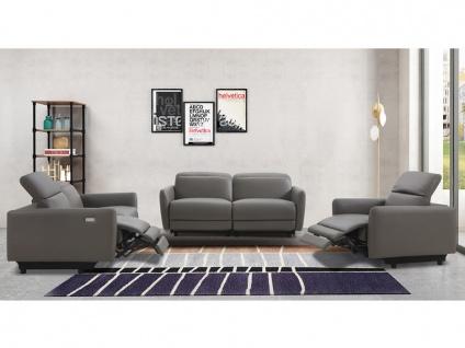 Relaxgarnitur elektrisch 3+2+1 CLEOPHEE - Leder - Taupe