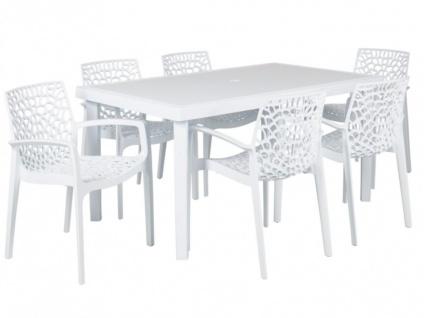 Gartenmöbel Essgruppe DIADEM: Tisch + 6 Sessel - Weiß
