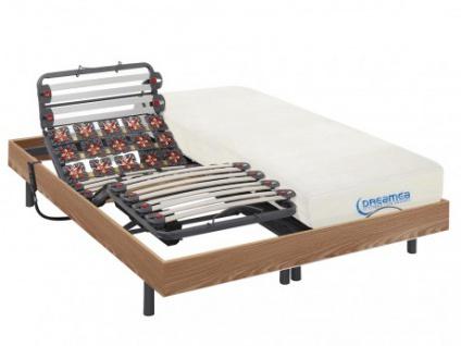 Matratzen elektrischer Lattenrost 2er-Set mit Viscoschaum und Okin-Motor DIONYSOS von DREAMEA - Taupe - 2x80x200 cm