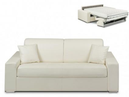 Schlafsofa 3-Sitzer EMIR - Weiß - Liegefläche: 140cm - Matratzenhöhe: 18cm