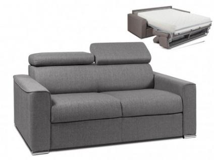 Schlafsofa 3-Sitzer Stoff VIZIR - Grau - Liegefläche: 140 cm - Matratzenhöhe: 22cm