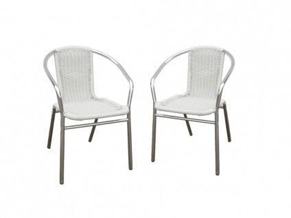 Gartenstuhl 2er-Set FIZZ - Aluminium & Polyrattan - Weiß
