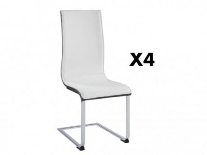 Stuhl 4er-Set AYANE - Grau/Weiß