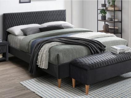 Bett mit Kopfteil Samt DANIELE - 140x190cm - Grau