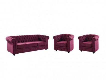 Couchgarnitur 3+1+1 Samt Chesterfield ANNA - Pflaume