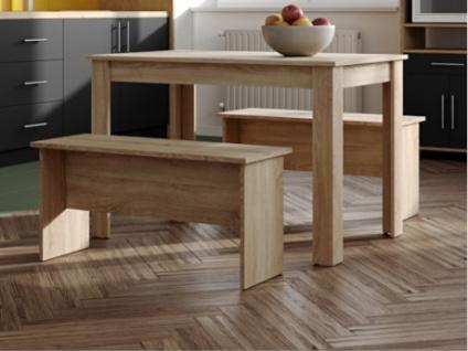 Essgruppe BASTIEN: 1 Tisch & 2 Bänke - Eichenholzfarben