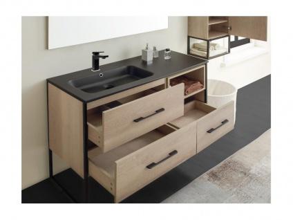 Komplettbad SELANE - Unterschrank + Waschbecken + Spiegel + Regal - Holz-Optik - Vorschau 5