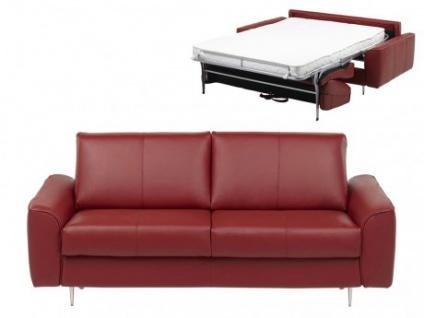 Schlafsofa Leder Express Bettfunktion mit Matratze 3-Sitzer Alphonse - Standardleder - Rot