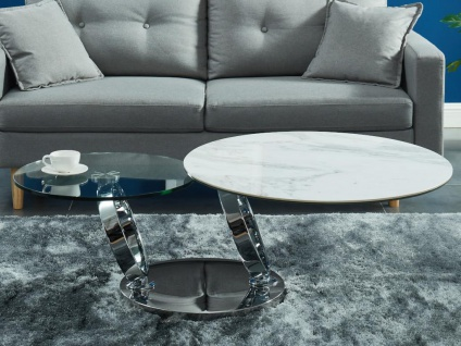 Couchtisch mit drehbaren Tischplatten JOLINE - Keramik & Glas - Weiß mit Marmor-Effekt