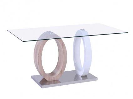 Essgruppe AYANE: Esstisch & 4 Stühle - Eichenholzfarben/Weiß