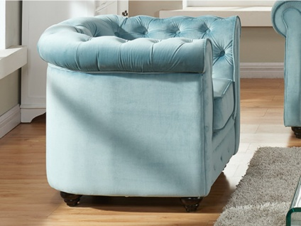 Chesterfield Sessel Samt ANNA - Blau 2