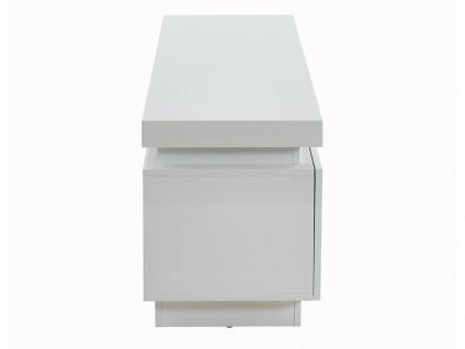 TV-Möbel mit LED-Beleuchtung EMERSON - 1 Tür & 2 Schubladen - Holz (MDF) - Weiß - Vorschau 3