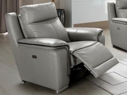 Relaxsessel Leder elektrisch PAOSA - Grau mit anthrazitgrauer Ziernaht