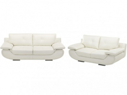 Ledergarnitur Orgullosa 3+2 - Luxusleder - Weiß
