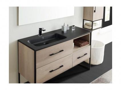 Komplettbad SELANE - Unterschrank + Waschbecken + Spiegel + Regal - Holz-Optik - Vorschau 4
