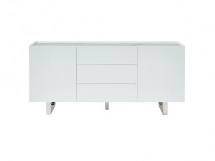 Sideboard AZIMA - 2 Türen & 3 Schubladen - Holz, Keramik & Metall - Weiß