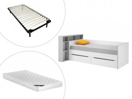 Bett mit Kopfteil und Stauraum OSCAR - 90x200cm + Lattenrost + Matratze