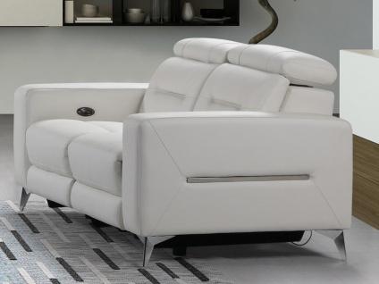 Relaxsofa elektrisch 2-Sitzer PAULY - Leder - Weiß
