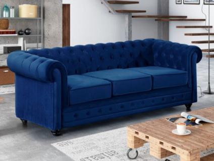 3-Sitzer-Sofa Chesterfield Samt ANNA - Dunkelblau
