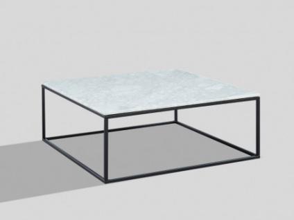 Couchtisch Design Marmor & Metall ARETHA - Schwarz/Weiß