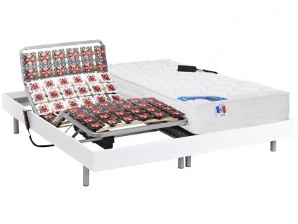 Matratzen elektrischer Lattenrost 2er-Set mit Tellermodulen Taschenfederkern & Memory Schaum PHANES - OKIN-Motoren - Weiß - 2x80x200cm