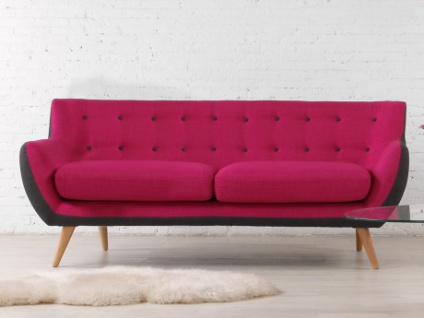 3-Sitzer-Sofa Stoff Serti - Fuchsia & Grau