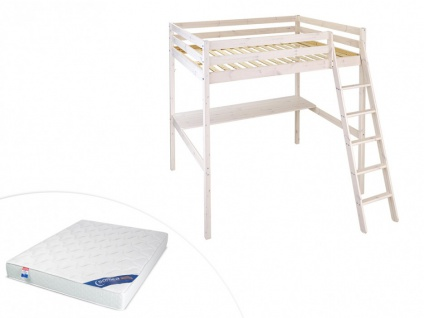 Set Hochbett Massivholz mit Schreibtisch GEDEON + Lattenrost + Matratze - 140x190cm