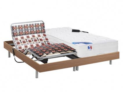 Matratzen elektrischer Lattenrost 2er-Set mit Tellermodulen Taschenfederkern & Memory Schaum PHANES - OKIN-Motoren - Eiche - 2x90x200 cm