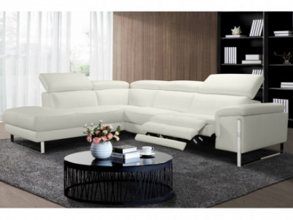 Relaxsofa Incliner Ecksofa Leder elektrisch RIVAS - Ecke Links - Weiß