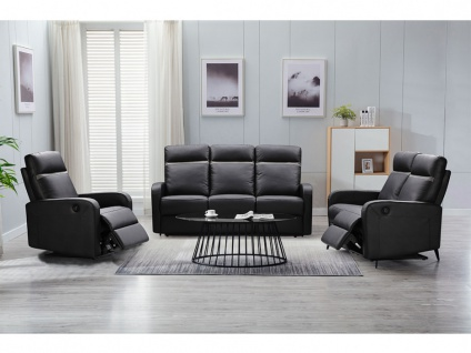 Relaxgarnitur elektrisch 3+2+1 ABERDEEN - Schwarz mit anthrazitfarbenem Streifen