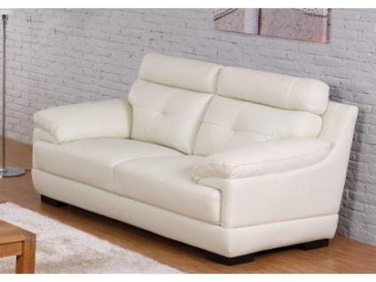 Ledersofa 2-Sitzer Manuela - Elfenbein-Weiß