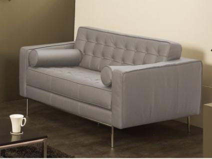 Ledersofa 2-Sitzer Vittoria - Luxusleder - Grau