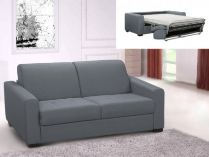 Schlafsofa Stoff Express Bettfunktion 3-Sitzer AMYR - Grau - Matratzenhöhe: 14 cm