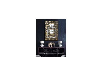Kunstdruck gerahmt DARK - 60 x 90 x 2, 5 cm - Goldfarben & Schwarz