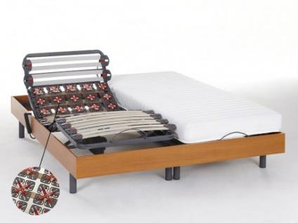 Relax-Kombination Latten und Tellermodule - Latex PANDORA II von DREAMEA - OKIN-Motoren - Kirschbaumholz - 2x80x200cm