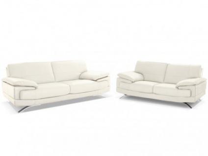 Ledergarnitur Emotion 3+2 - Luxusleder - Weiß