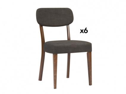 Stuhl 6er-Set Holz RUBBEN - Nussholzfarben/Grau