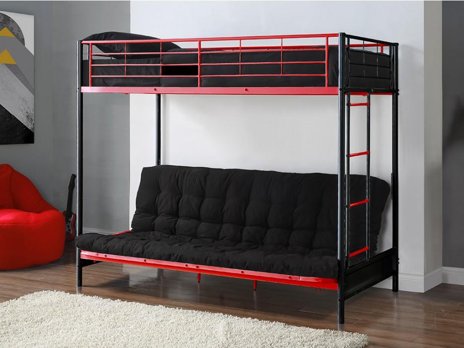 hochbett modulo iv lattenrost 90x190 135x190cm schwarz rot kaufen bei kauf. Black Bedroom Furniture Sets. Home Design Ideas