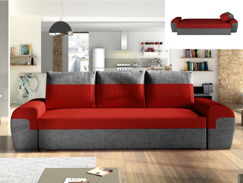 3-Sitzer-Sofa mit Bettfunktion Stoff GABY - Rot/Anthrazit ...