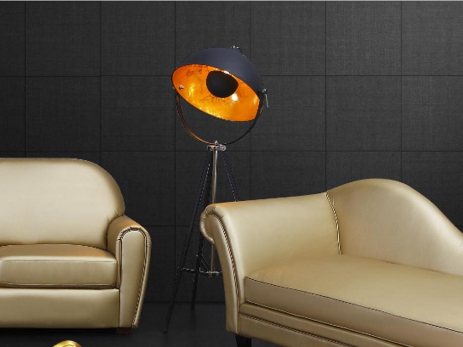 stehleuchte tripod metall movie schwarz gold h he 166 cm kaufen bei kauf. Black Bedroom Furniture Sets. Home Design Ideas